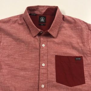 VOLCOM Mens Medium Red Pocket Shirt